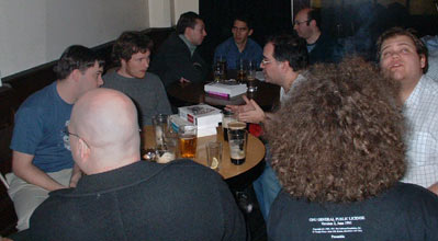 perl mongers meet java bloggers - yes that is a GPL tshirt!